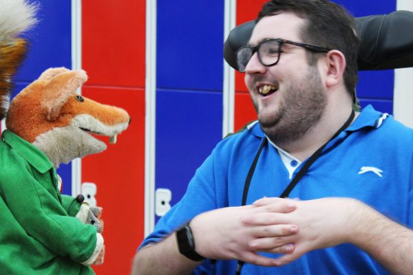 Basil Brush with student Harry