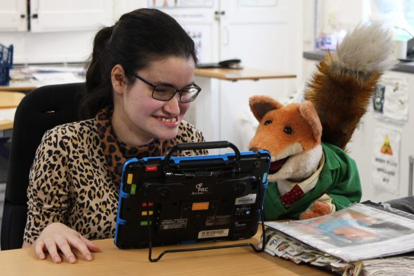 Basil Brush with student Jasmine